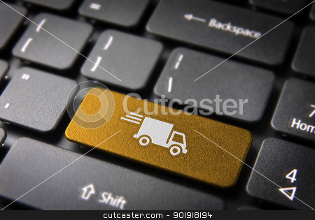 Yellow delivery keyboard key cargo business background stock photo, Transport delivery key with truck icon on laptop keyboard. Included clipping path, so you can easily edit it. by Cienpies Design
