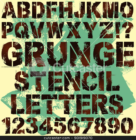 Stencil Letters stock vector clipart, A Set of Grunge Stencil Letters by Binkski Art