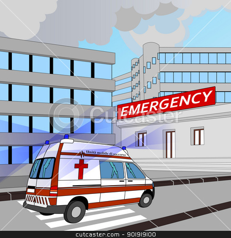 emergency stock vector clipart, ambulance with flashing lights in the race to the emergency room by Alfio Roberto Silvestro