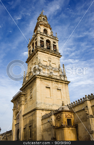 Mezquita Bell Tower stock photo, Bell Tower (Spanish: Torre de Alminar) of the Mezquita Cathedral (The Great Mosque) in Cordoba, Spain. by Rognar