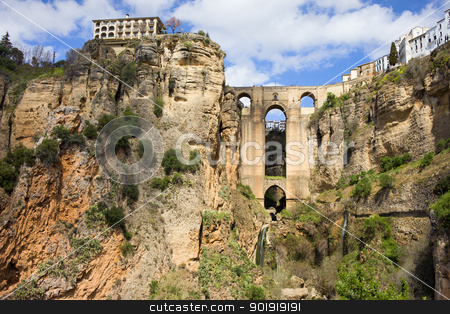 Bridge in Ronda stock photo, New Bridge (Spanish: Puente Nuevo) from 18th century in Ronda, southern Andalusia, Spain. by Rognar