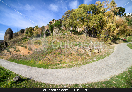 Rural Road Turn stock photo, Rural road turn in Andalusia countryside, Spain. by Rognar