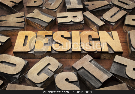 design concept in wood type stock photo, design concept in vintage letterpress wood printing blocks by Marek Uliasz