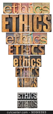 ethics exclamation point stock photo, ethics word abstract in a form of exclamation point - a collage of isolated text in vintage letterpress wood and metal type by Marek Uliasz