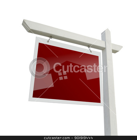 Real Estate Sign with House Silhouette with Clipping Path stock photo, Red Real Estate Sign with House Silhouette with Clipping Path. by Andy Dean