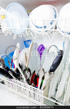 Nothing like some clean dishes stock photo, 3/4 angle view of clean dishes in the dishwasher. by txking