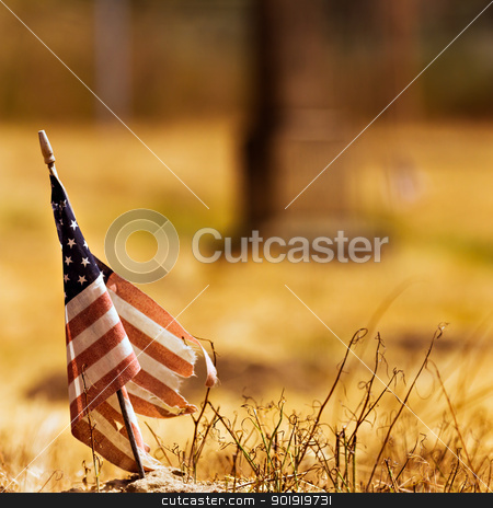 Vintage looking photo of a tattered american flag stock photo, Worn out american flag against a dried out field background. by txking