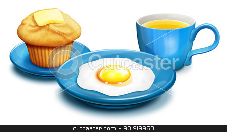 Illustrated breakfast with Muffin,Eggs and Orange Juice stock photo, Illustrated breakfast with Muffin,Eggs and Orange Juice by Bill Fleming
