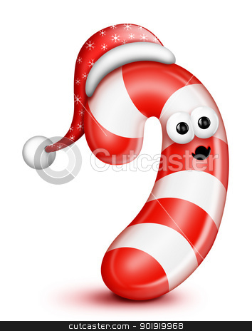 Whimsical Cartoon Candy Cane in Santa Hat stock photo, Whimsical Cartoon Candy Cane in Santa Hat by Bill Fleming