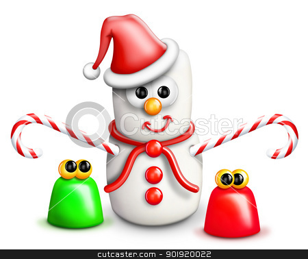 Whimsical Cartoon Marshmallow Snowman and Gumdrops stock photo, Whimsical Cartoon Marshmallow Snowman and Gumdrops by Bill Fleming