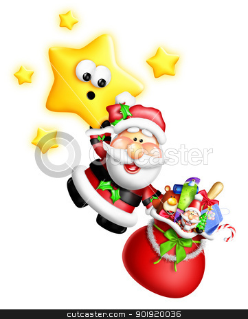 Whimsical Cartoon Santa Hanging From Cute Star stock photo, Whimsical Cartoon Santa Hanging From Cute Star by Bill Fleming