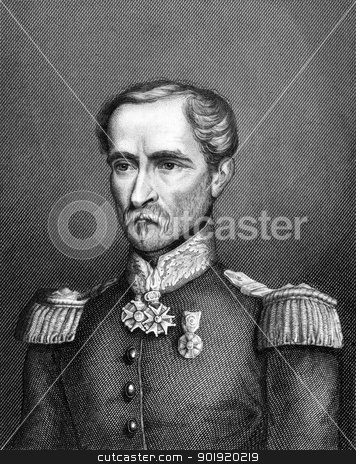 Louis Eugene Cavaignac stock photo, Louis Eugene Cavaignac (1802-1857) on engraving from 1859. French general. Engraved by Meinetzberger and published in Meyers Konversations-Lexikon, Germany,1859. by Georgios Kollidas
