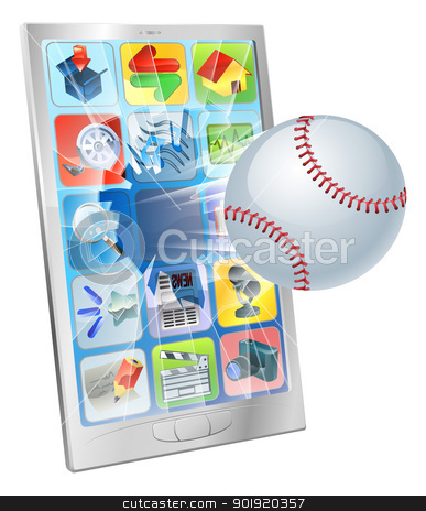 Baseball ball flying out of cell phone stock vector clipart, Illustration of a baseball ball flying out of a broken cell phone screen by Christos Georghiou