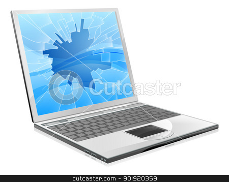 Laptop with broken screen  stock vector clipart, An illustration of a laptop with a smashed or broken screen   by Christos Georghiou