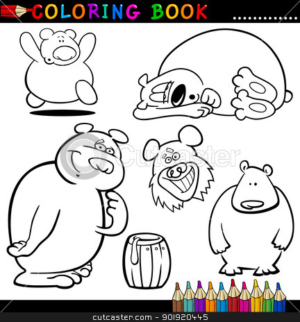 Animals for Coloring Book or Page stock vector clipart, Coloring Book or Page Cartoon Illustration of Funny Bears for Children by Igor Zakowski