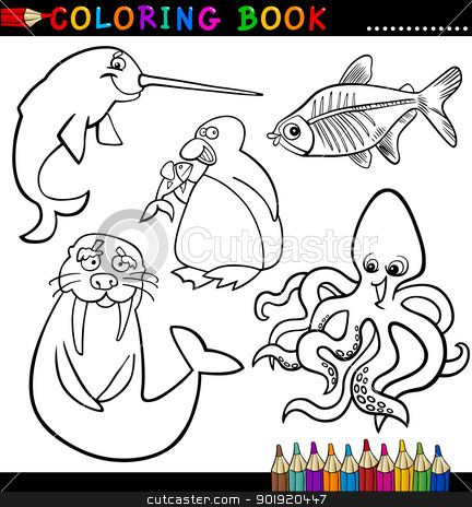 Animals for Coloring Book or Page stock vector clipart, Coloring Book or Page Cartoon Illustration of Funny Marine and Polar Animals for Children by Igor Zakowski