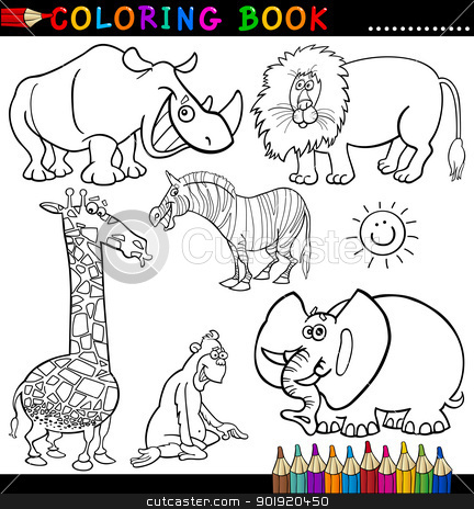 Animals for Coloring Book or Page stock vector clipart, Coloring Book or Page Cartoon Illustration of Funny Wild and Safari Animals for Children by Igor Zakowski