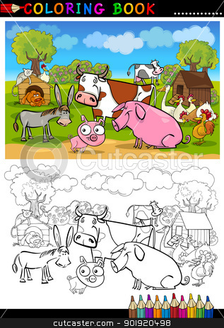Farm and Livestock Animals for Coloring stock vector clipart, Coloring Book or Page Cartoon Illustration of Funny Farm and Livestock Animals for Children Education by Igor Zakowski