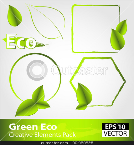 Green ecology design elements stock vector clipart, Creative pack of green ecology design elements by Vladimir Repka
