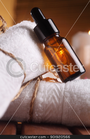 aromatheraphy stock photo, close of the aromatheraphy oil on the roll up towel by eskaylim