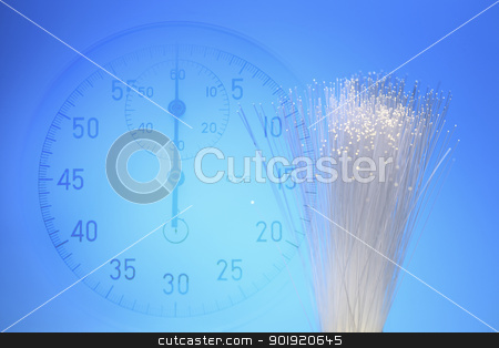 speed fibre optic stock photo, digital compose of the stopwatch and the fiber optic by eskaylim