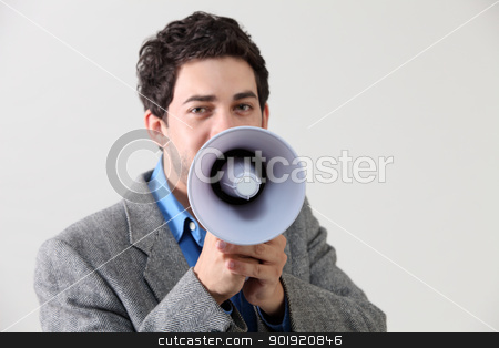speak out stock photo, Businessman shouting through megaphone by eskaylim