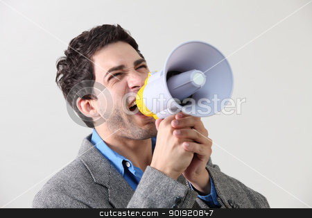voice out stock photo, Businessman shouting through megaphone by eskaylim