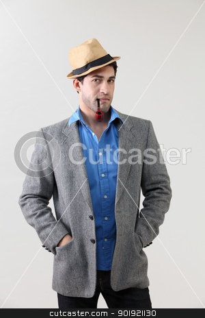 man with hat stock photo, Man with pipe in mouth by eskaylim