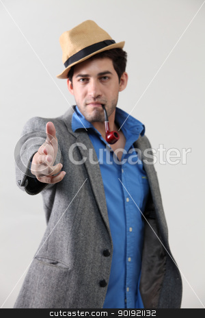 investigator stock photo, Man with pipe in mouth by eskaylim