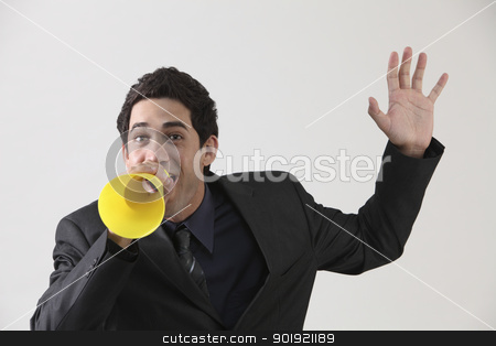 shouting stock photo, Businessman with megaphone shouting by eskaylim