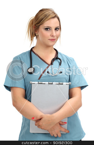 Beautiful blond nurse stock photo, A beautiful young female nurse or doctor smiling and carrying a medical file. by © Ron Sumners