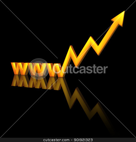 online business stock photo, letters www with business graph - 3d illustration by J?