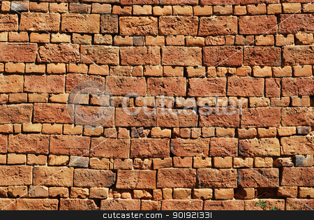 Old country house brick wall stock photo, Old country house red brick wall as background by Aleksandar Varbenov
