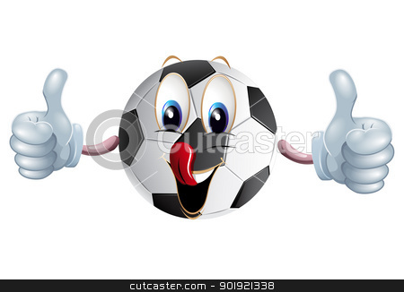Football stock photo, Big football with hands and big smile on white background by Diana