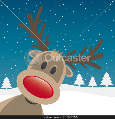 rudolph red nose look stock vector clipart, rudolph reindeer red nose looking from site by d3images