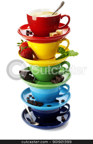 Color cups stock photo, Color cups on a white background by klenova