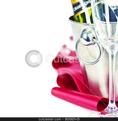 Champagne stock photo, Champagne bottle in cooler and two champagne glasses by klenova