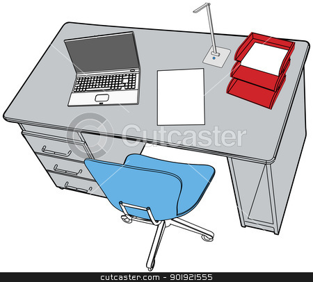 Business report laptop on office desk scene stock vector clipart, Line drawing of neat desktop scene with blank copyspace paper report  laptop office chair by Michael Brown