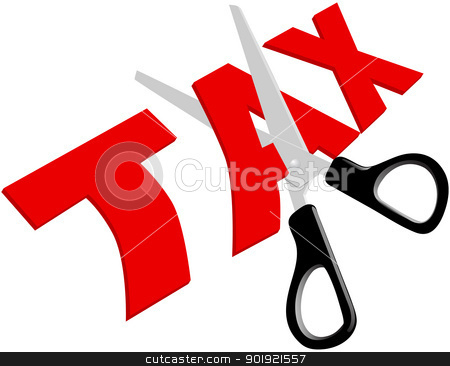 Scissors cut unfair too high Taxes stock vector clipart, Pair of scissors cuts unfair too high taxes in half by Michael Brown