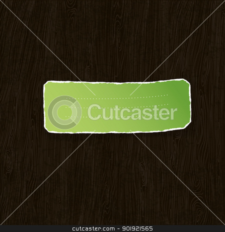 Green torn label on wooden texture. Vector illustration, EPS10 stock vector clipart, Green torn label on wooden texture. Vector illustration, EPS10 by pashabo