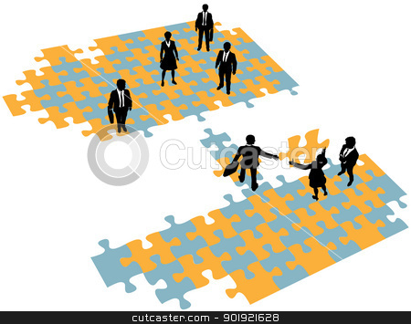 Business people build bridge join teams stock vector clipart, Group of business people build a bridge solution to connect teams by Michael Brown