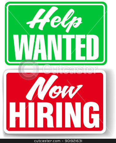 now hiring help wanted business signs stock vector