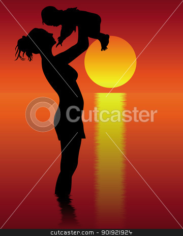 Silhouette of mother and child  stock vector clipart, Silhouette of mother and child standing in water on a red-orange background by Yuriy Mayboroda