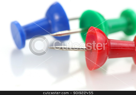 Push pins stock photo, Extreme close up shot of three push pins by Sreedhar Yedlapati