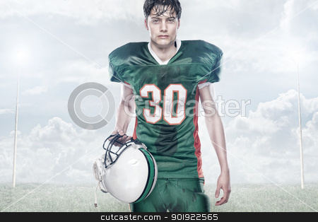 American football stock photo, Young american football player by Picturehunter