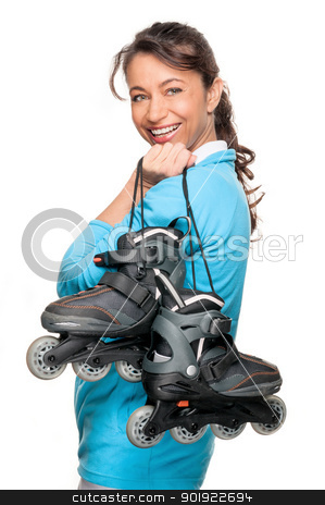Woman with skates stock photo, Full isolated woman with inliner by Picturehunter