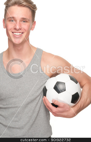 Soccer player stock photo, Full isolated studio picture from a happy young man with football by Picturehunter