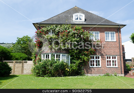 House with roses stock photo, Roses in front of a house withe windows by Picturehunter