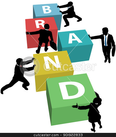 Business people build company brand stock vector clipart, Marketing people team up and cooperate to build Brand identity plan by Michael Brown