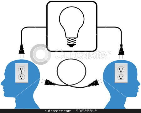 Plug in people join in loop light connection stock vector clipart, People into high energy connection outlet and light bulb copy spaces by Michael Brown